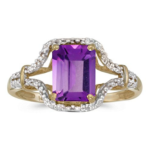 - FB Jewels 10k Yellow Gold Genuine Purple Birthstone Solitaire Emerald-cut Amethyst And Diamond Wedding Engagement Statement Ring - Size 7.5 (1.22 Cttw.)