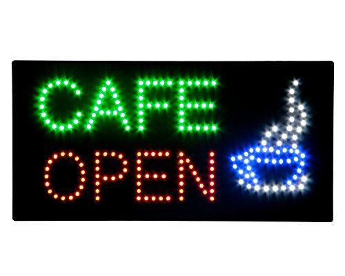 LED Cafe Coffee Espresso Open Light Sign Super Bright Electric Advertising Display Board for Business Shop Store Window Bedroom 19 x 10 inches (Cafe (Halloween Store Displays)