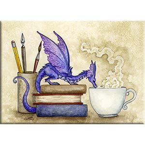 Amy Brown, WHAT'S IN HERE? - Original Dragon Artwork Fridge MAGNET, 2.5