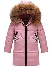 Girls Hoodie Coat Kids Winter Faux Fur Hooded Parka Down Coat Puffer Jacket Padded Overcoat,Kid Down JacketDB11