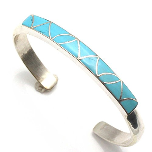 L7 Enterprises Zuni Silver & Turquoise Inlay Bracelets by The Kallestewas (stabilized-Turquoise)