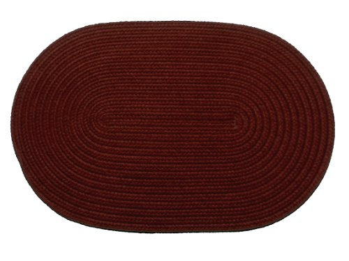 Solid polypropylene Oval Braided Rug, 3 by 5-feet, Burgundy