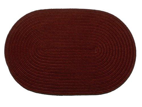 Solid polypropylene Oval Braided Rug, 2 by 3-feet, Burgundy Burgundy Solids Braided Rug