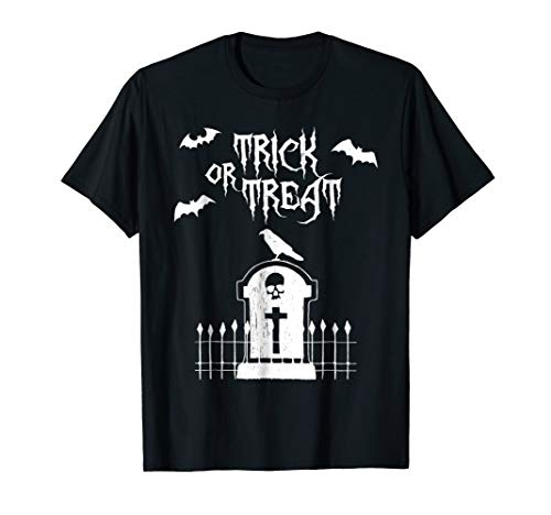 Halloween T-Shirt - Trick or Treat Scary Tombstone Crow
