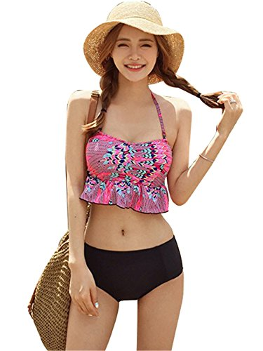 2 PCS Floral Halterneck Ruffled Push Up Tankini Bikini Top And Bottom Beach Wear Pink (Pink Floral Tankini)