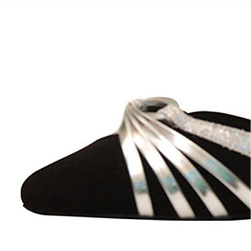 Q latini Practice Nero Indoor Heels Scarpe Modern Tango Salsa T T Flocking donna Swing Performance da ballo Sandali Black Professional Jazz Heel da 5AqcHSzc