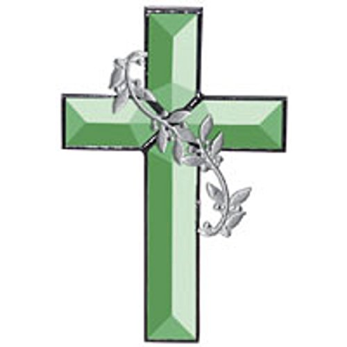 Stained Glass Supplies Green Cross of Distinction Glass Bevel Cluster