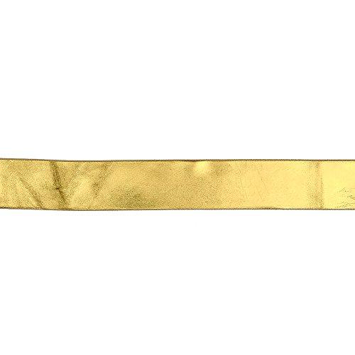 May Arts 1.5in Reversible Satin Ribbon 25yd Spool Metallic Gold/Ivory