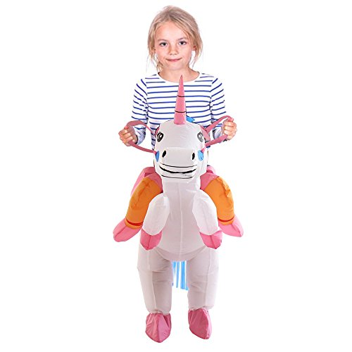 TOLOCO Inflatable Unicorn Rider Costume | Inflatable Costumes For Adults Or Child | Halloween Costume | Blow Up Costume (Child (Kids Unicorn Costumes)