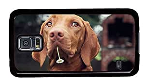 Hipster Samsung Galaxy S5 Cases stylish dog with flower PC Black for Samsung S5