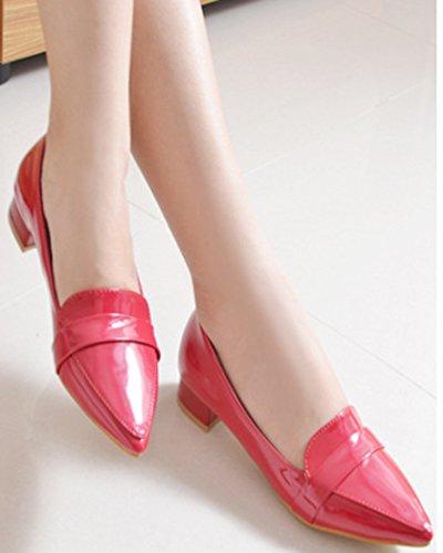 Idifu Womens Habillé Fermé Bout Pointu Bas Top Slip Sur Bas Talons Chunky Pompes Chaussures Rouge