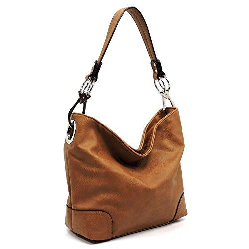 (Vegan faux leather bucket shoulder handbag with detachable cross body shoulder strap (ZP-camel))