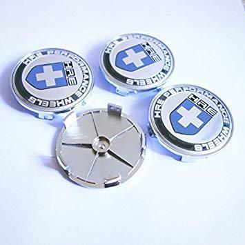 4pcs HRE 68mm Car Wheel Center HUB Cap Curve Badge Emblem Blue//Black