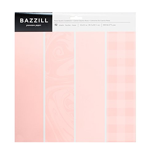 (American Crafts Bazzill Basics 12 x 12 Inch Carstock Pack Rose Quartz 12 Piece)