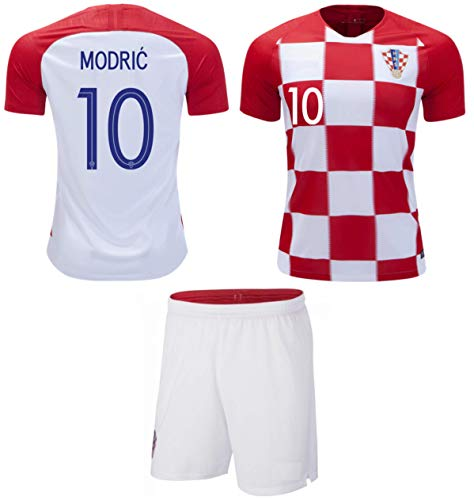 b960af5b1c3 Modric  10 Croatia Soccer Jersey Youth World Cup Home Short Sleeve with  Shorts Kit Kids