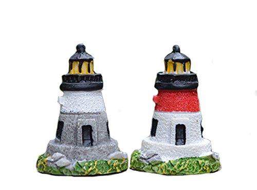 Moolecole 2pcs Mini Resin Lighthouse Arts Crafts Decoration Cartoon Outdoor Decor Creative Gifts Home Decorations