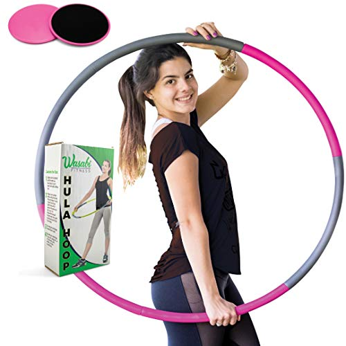 Wasabi Fitness Hula Hoop for Adults and Kids Non Weighted Hula Hoops Perfect for Exercise and Weight Loss, 36 inch Size- Easy to Hoola for Workout Dance- Standard hulahoop with Core Sliders