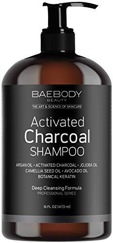 Activated Charcoal Shampoo - Moisturizing, Volumizing, Gentle on Curly & Color Treated Hair, for both Men & Women. Infused with Keratin, Sulfate Free. 16 fl oz
