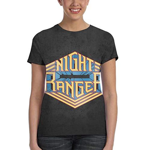 CarterH Womens Night Ranger Design 3D Printed Short Sleeve Tee Black XL ()