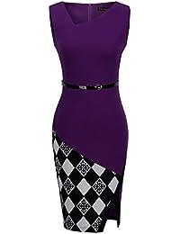 Women's Elegant Patchwork Sheath Sleeveless Business Dress B290