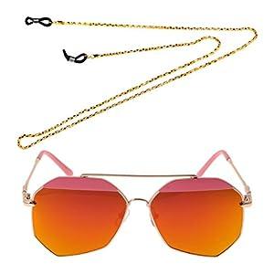 Jili Online Outdoor Sport Women Men's Lens Mirrored Oversized Sunglasses with Eyeglass Chain