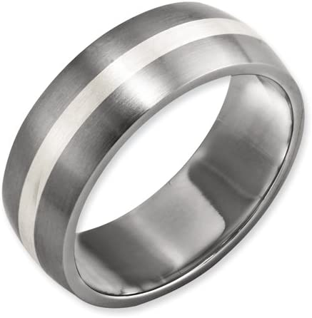 Best Quality Free Gift Box Titanium Sterling Silver Inlay 8mm Brushed Band