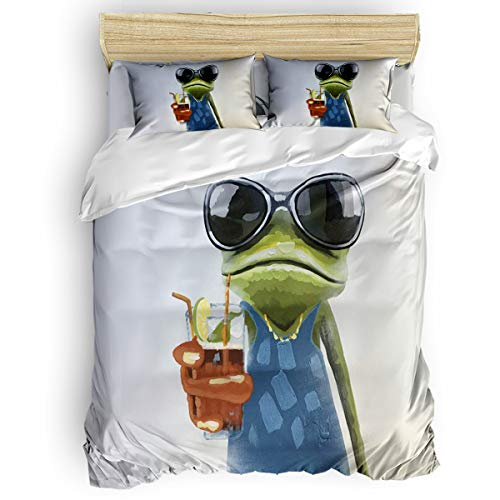 Yogaly Home Bedding Set 4 Pieces Queen Size for Adults/Teens/Children/Baby Hansome Frog with Sunglasses Printed Bed Sheets, Duvet Cover, Flat Sheet, Pillow Covers