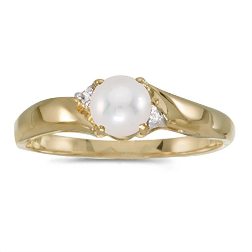 10k Yellow Gold Freshwater Cultured Pearl And Diamond Ring (Size 10.5) - 10k Pearl Ring