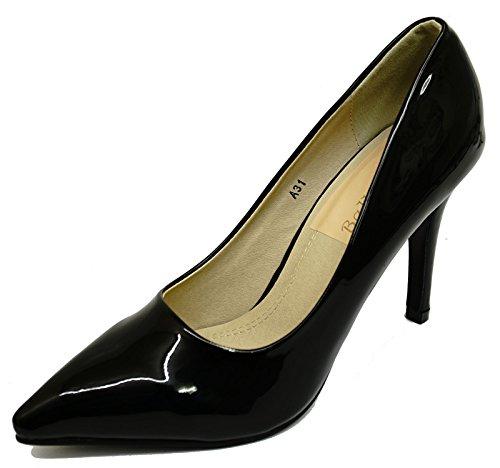 HeelzSoHigh Damen Schwarz Lack Stiletto High-Heels Zum Reinschlüpfen Hof Works Smart Spitz Schuhe Größen 3-8