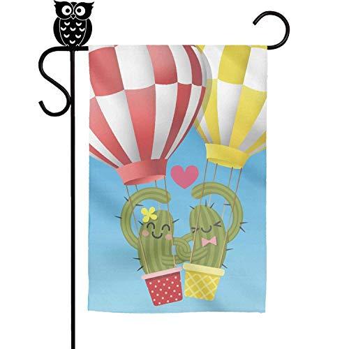 sretinez Loving Cactus in arm Balloon Home Garden Flag Yard Flag Summer Yard Outdoor Decorative 12x18 inch ()