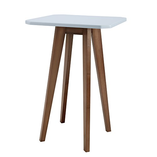 Cheap WILSHINE Square Accent Table for Small Spaces in Living Room/Bedroom with Greyish White Top and 4 Natural Brown Legs