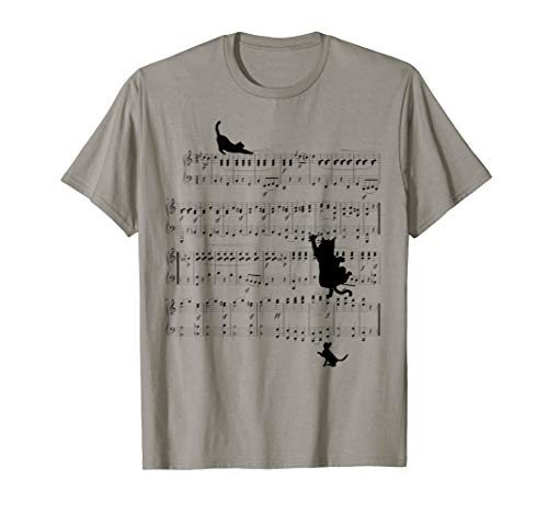 Cats playing with Music Notes, Gift For Cat Lovers T-Shirt