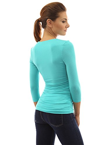 manches V fronce col 4 3 PattyBoutik Turquoise Femmes Chemise qg0xwU7B