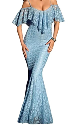 FQHOME Womens Spaghetti Straps Ruffled Off Shoulder Light Blue Mermaid Dress Size S (Light Blue Mermaid Dress compare prices)