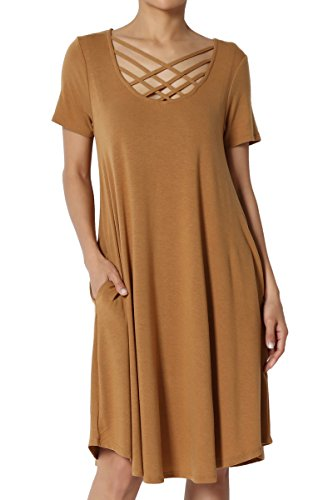 Brown Strappy Dress - TheMogan Women's Crisscross Strappy Neck Short Sleeve Pocket Dress Coffee 2XL