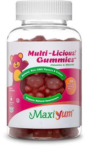 Maxi-Health Children Chewable Multivitamin Gummy - Ideal Daily Multi-Vitamin Supplement for Kids   Soft, Natural Flavors, Organic Sweeteners, Kosher   Cherry Flavor