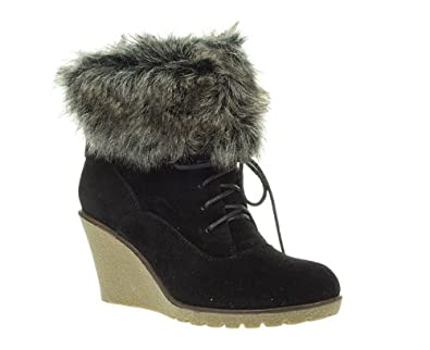 8fcd9b6464e Timeless Womens Ladies Black Faux Fur Trim Wedge Lace Up Ankle Boots Size 8
