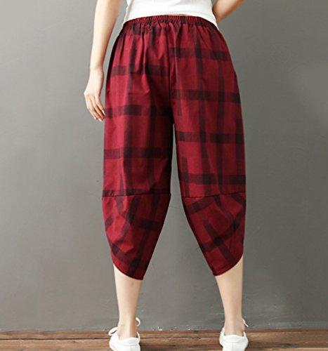 Irregolare A Pantalone Alta Basso Baggy Plaid Elastica Vita Quadri Trousers Pantaloni Cavallo Rosso Capris Harem Lvraoo Da Donna In zT8gZwq