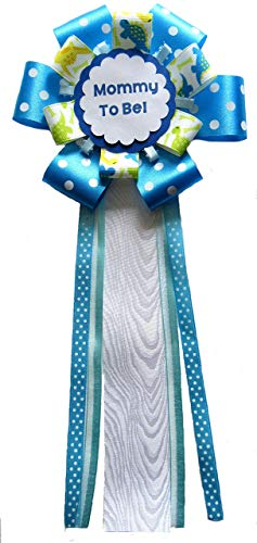 Handmade Dinosaur Boys Mommy to be corsage Blue Green yellow Ribbons Baby shower ()