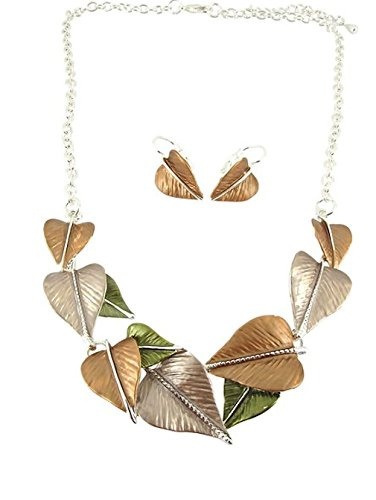 Alexander Thurlow Bronze, Green & Peach Tone Leaf Necklace Pendant and Earring Set