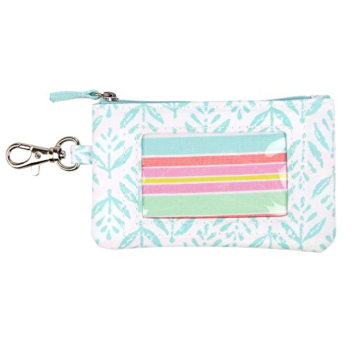 SCOUT IDKase Card Holder or Wallet, ID Holder Window, Key Clasp, Water Resistant, Zips Closed, Aqua Fresca (Holder Coin Zip)