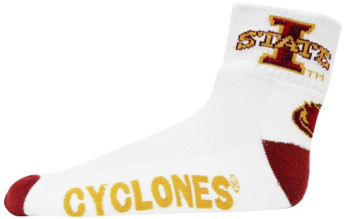 NCAA Iowa State Cyclones Men's Heel Toe Quarter Socks, White/Gold