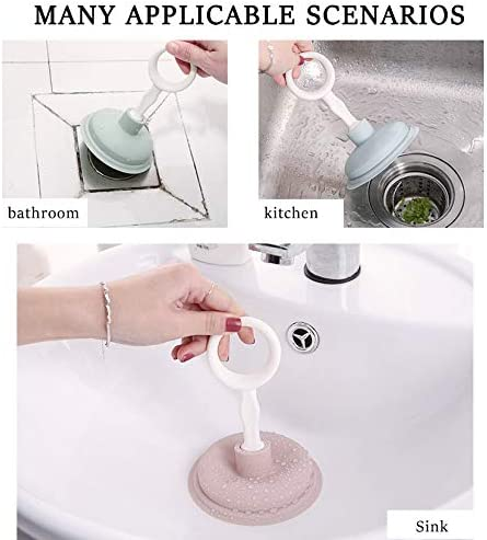Small Protable Toilet Unblocker Powerful Unclogger Tool for Kitchen Baths Showers kuou 2 Pcs Sink and Drain Plunger
