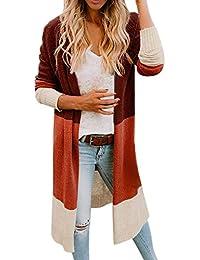 Orangeskycn Womens Open Front Color Block Cardigan Long Sleeve Sweater Coat