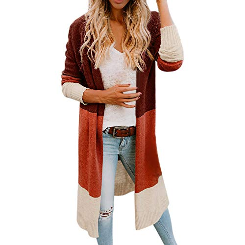 Lined Pinstripe Blazer (Orangeskycn Womens Open Front Color Block Cardigan Long Sleeve Sweater Coat)