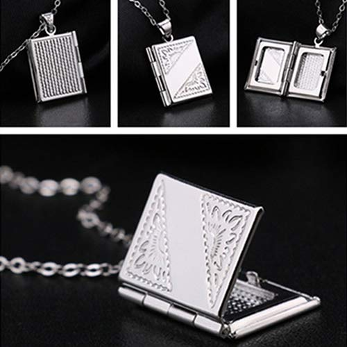 Necklace Opeof Silver Color Rectangle Locket Box Photo Frame Pendant Necklace Chain Charm Jewelry