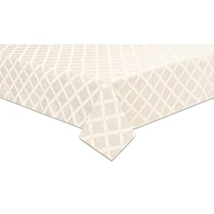 "Lenox Laurel Leaf 70""x122"" Oblong Tablecloth, White"