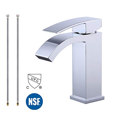 KES Bathroom Waterfall Faucet Single Handle One Hole Vanity Sink Faucet cUPC NSF Certified Lead Free Brass Polished Chrome, L3109ALF-CH