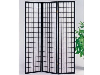 Panel Black Finish Wooden Screen - HP 3-Panel Black Finish Wooden Screen (18