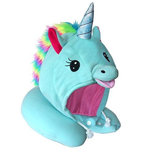 Price comparison product image Unicorn Hooded Animal Travel Neck Pillow, Plush Toy Gift, Microbead, Adjustable Drawstring, Perfect For Airplane Travel With Comfortable Neck Support and As Unicorn Party Supplies Designed In Japan